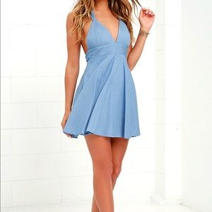 Chambray low back halter dress